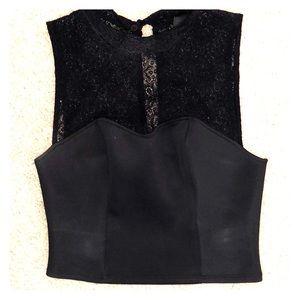 Top shop black lace crop top!